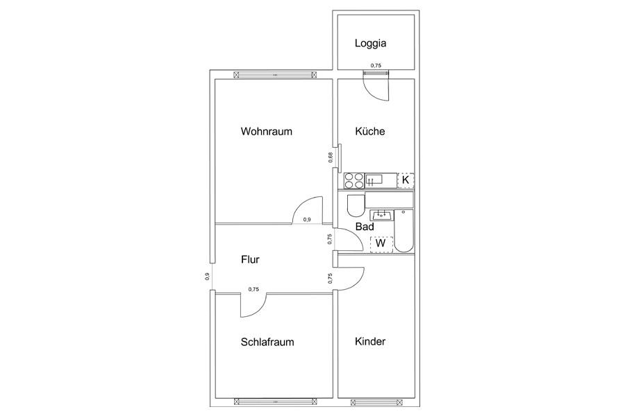 wohnungen in rostock 3 raum wohnung dierkow. Black Bedroom Furniture Sets. Home Design Ideas