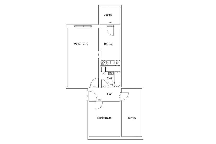 3 raum wohnung rostock dierkow mit balkon. Black Bedroom Furniture Sets. Home Design Ideas